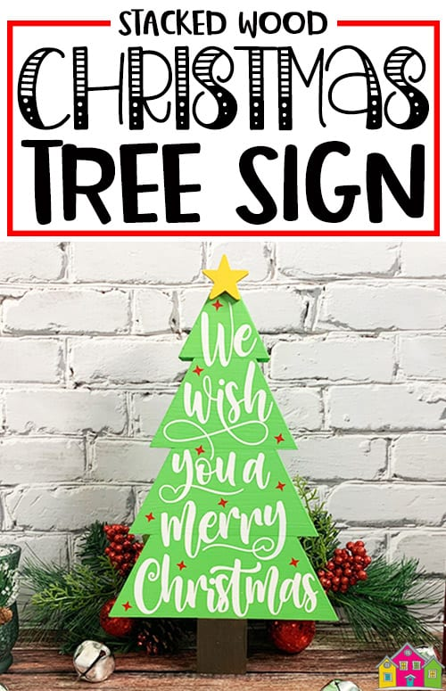 Stacked Wood Christmas Tree Sign