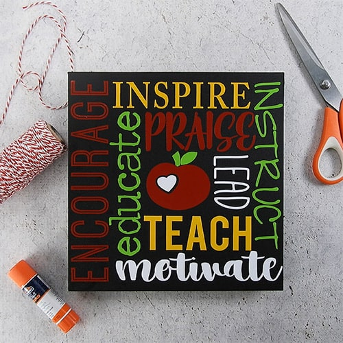 Make a quick and easy gift for your favorite teacher with your silhouette or cricut. This cute teacher subway art is perfect for teacher appreciation, end of year teacher gifts, or anywhere in between. #teacherappreciationsilhouette #teacherappreciationcricut #teacherappreciationsvg