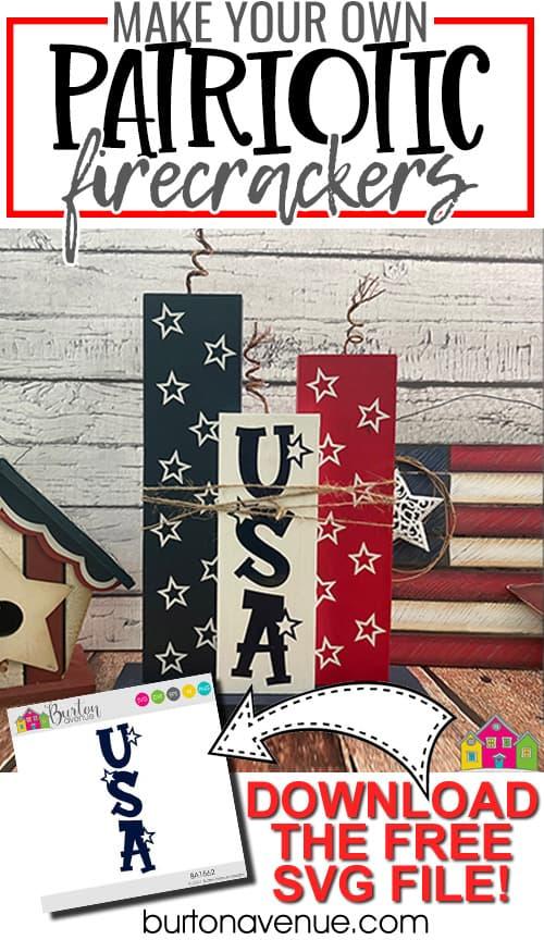 DIY Wood Patriotic Firecrackers