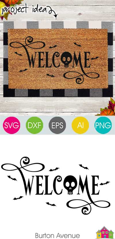 Welcome with Skull and Bats SVG File