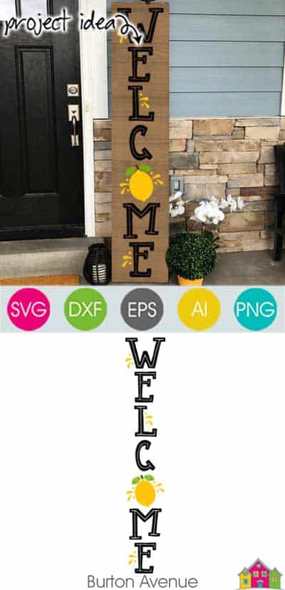 Welcome with Lemon Vertical SVG File
