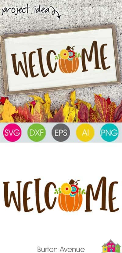 Welcome with Pumpkin SVG File