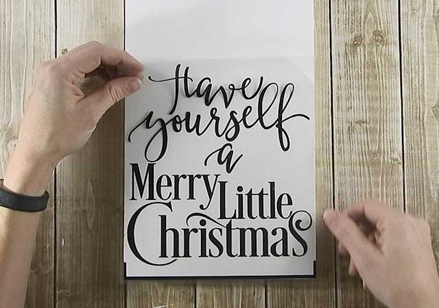 Make your own rustic wood sign for Christmas with your Silhouette or Cricut machine. This DIY project is easy and quick to make and is the perfect decoration for Christmas. #ChristmasSilhouette #ChristmasCricut #ChristmasSVG #Christmassign