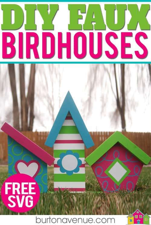 Make your own faux birdhouses with a few simple tools and your Silhouette, Cricut, or Brother Cutting Machine. This spring project is quick and easy and makes a great spring decoration for your home. #springsilhouetteprojects #springcircutprojects #springbrotherprojects
