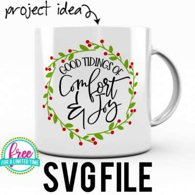 So many possibilities of DIY projects with this Free Good Tidings of Comfort and Joy SVG. Make signs, pillows, t-shirts and more for Christmas with this Free Good Tidings of Comfort and Joy SVG file . Free Ai, SVG, PNG, EPS & DXF download. Free Good Tidings of Comfort and Joy SVG files works with Cricut, Cameo Silhouette and other major cutting machines. #christmassvg #christmasrcricut #christmassilhouette #christmassvg #silhouette #cricutexplore