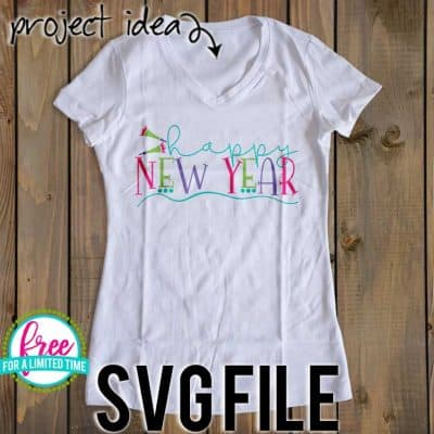 Make your own New Year's tshirt with your Silhouette or Cricut Machine. So many possibilities of DIY projects with this Free Happy New Year w/Swash SVG. #newyearssvg #newyearsrcricut #newyearssilhouette #newyearssvg #silhouette #cricutexplore