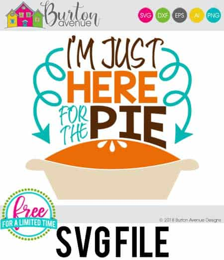 So many possibilities of DIY projects with this Free I'm Just Here for the Pie SVG. Make signs, pillows, t-shirts and more for with this Free Hayrides SVG file . Free Ai, SVG, PNG, EPS & DXF download. FreeI'm Just Here for the Pie SVG files works with Cricut, Cameo Silhouette and other major cutting machines. #thanksgivingsvg #thanksgivingcricut #thanksgivingsilhouette #happythanksgivingsvg #silhouette #cricutexplore