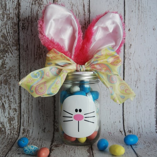 Make your own Easter Bunny Mason Jar with your Silhouette, Cricut, or Brother Cutting Machine. This Easter project is quick and easy and makes a great gift for Easter. #eastersilhouetteprojects #easterprojects #easterbrotherprojects