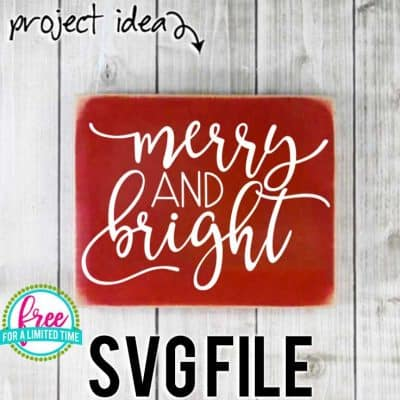 So many possibilities of DIY projects with this Free Merry and Bright SVG. Make signs, pillows, t-shirts and more for with this Free Merry and Bright SVG file . Free Ai, SVG, PNG, EPS & DXF download. Free Merry and Bright SVG files works with Cricut, Cameo Silhouette and other major cutting machines. #christmassvg #christmascricut #christmassilhouette #merrychristmassvg #silhouette #cricutexplore