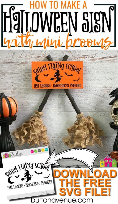 DIY Halloween Sign with Mini Brooms