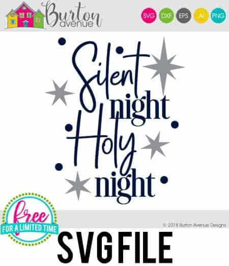 So many possibilities of DIY projects with this Free Silent Night Holy Night SVG. Make signs, pillows, t-shirts and more for Christmas with this Free Silent Night Holy Night SVG file . Free Ai, SVG, PNG, EPS & DXF download. Free Silent Night Holy Night SVG files works with Cricut, Cameo Silhouette and other major cutting machines. #christmassvg #christmasrcricut #christmassilhouette #christmassvg #silhouette #cricutexplore
