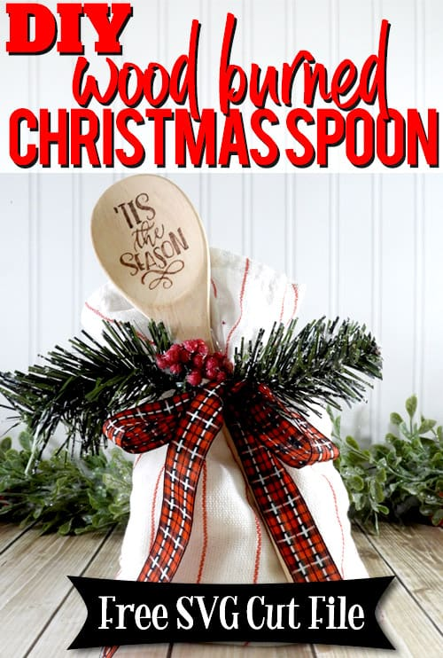 Learn how to make your own wood burned Christmas spoons with this easy to follow tutorial. With a few tools and your Silhouette or Cricut machine, you'll be able to create these cute wood burned Christmas spoons for your home or as gifts. This DIY project is easy and quick to make and is the perfect gift for family and friends. #ChristmasSilhouette #ChristmasCricut #ChristmasSVG
