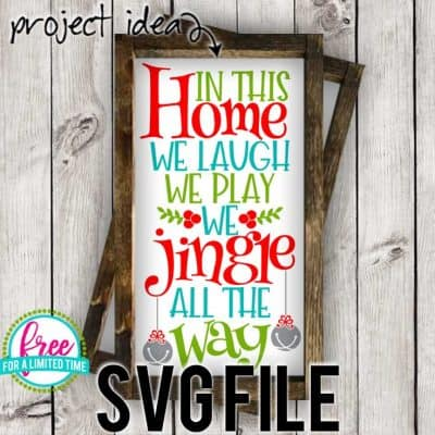 So many possibilities of DIY projects with this Free We Jingle all the Way SVG. Make signs, pillows, t-shirts and more for Christmas with this Free We Jingle all the Way SVG file . Free Ai, SVG, PNG, EPS & DXF download. Free We Jingle all the Way SVG files works with Cricut, Cameo Silhouette and other major cutting machines. #christmassvg #christmascricut #christmassilhouette #merrychristmassvg #silhouette #cricutexplore